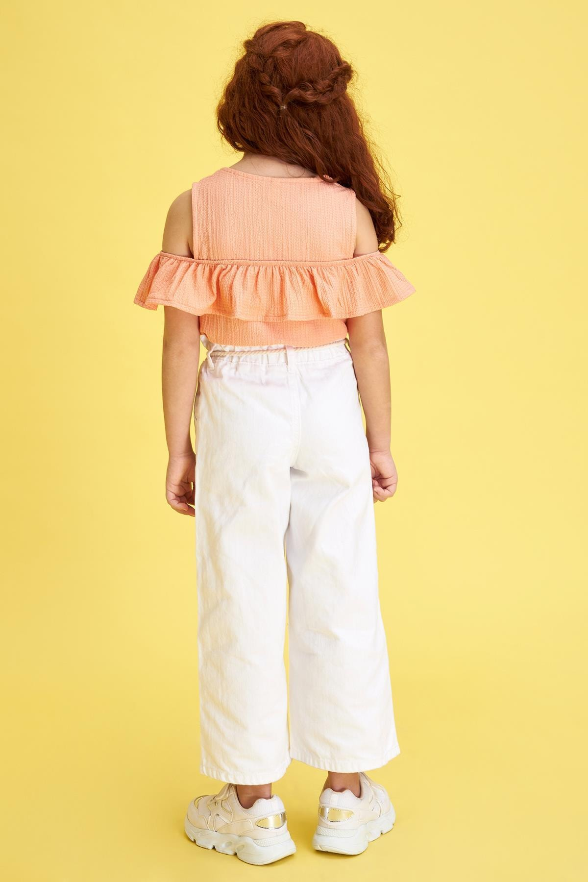 Defacto Kız Çocuk Geniş Paça Beyaz Jean Pantolon 1