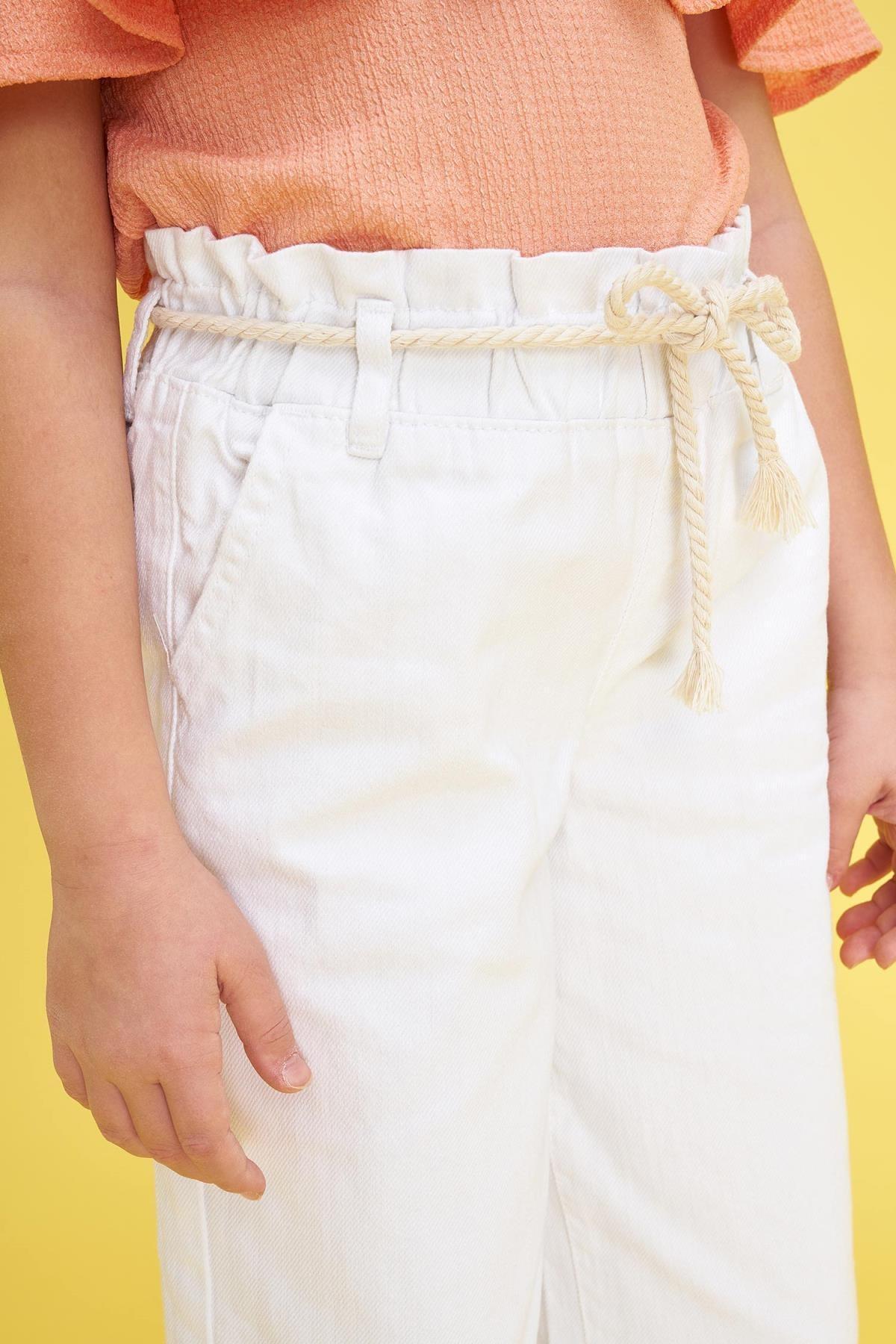 Defacto Kız Çocuk Geniş Paça Beyaz Jean Pantolon 2