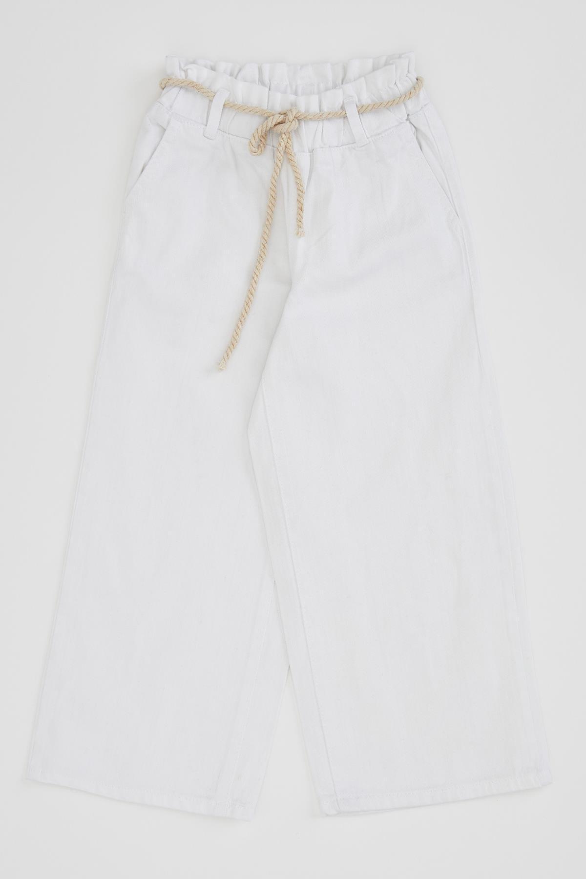 Defacto Kız Çocuk Geniş Paça Beyaz Jean Pantolon 3