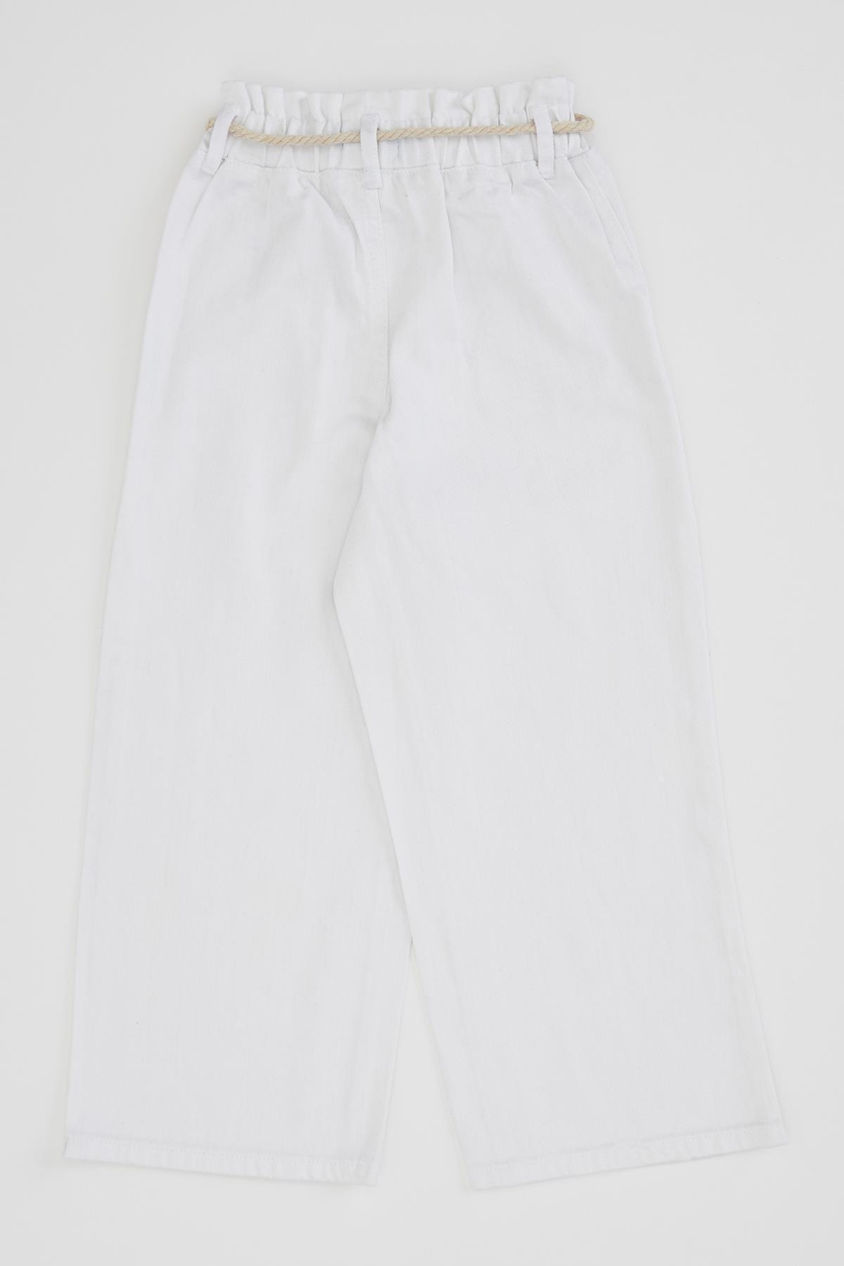 Defacto Kız Çocuk Geniş Paça Beyaz Jean Pantolon 4