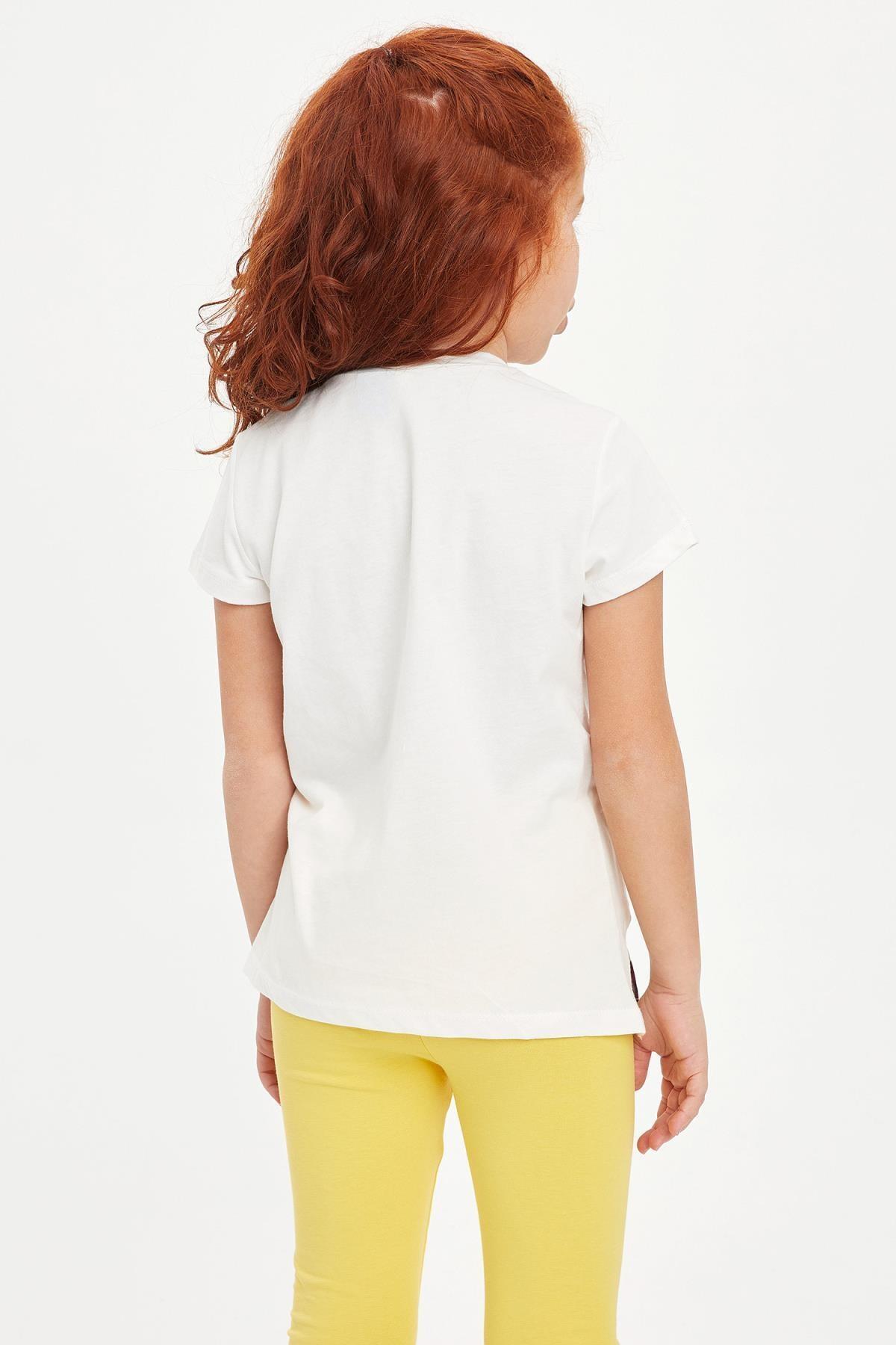 Defacto Kız Çocuk Frozen Lisanslı Kısa Kollu T-shirt 3
