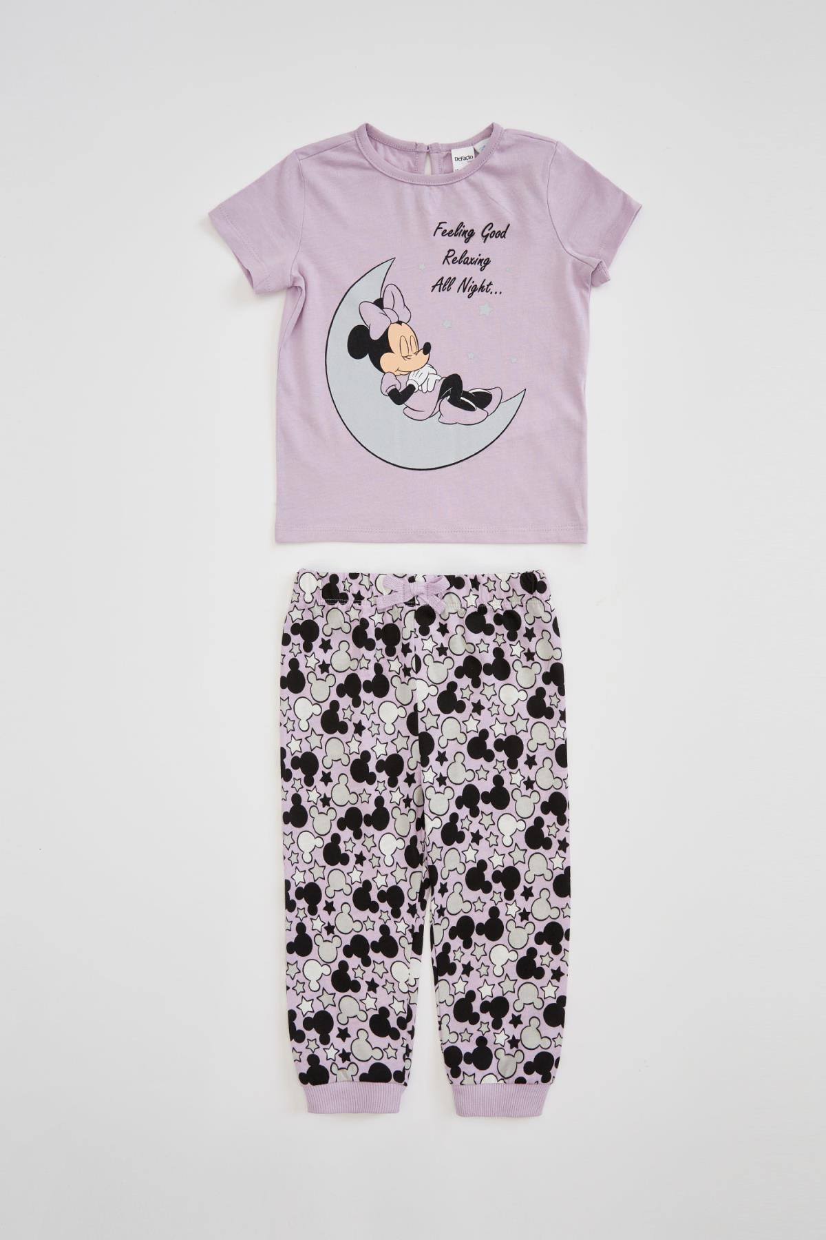 Kız Bebek Minnie Mouse Lisanslı Uzun Kol  Pijama Takımı