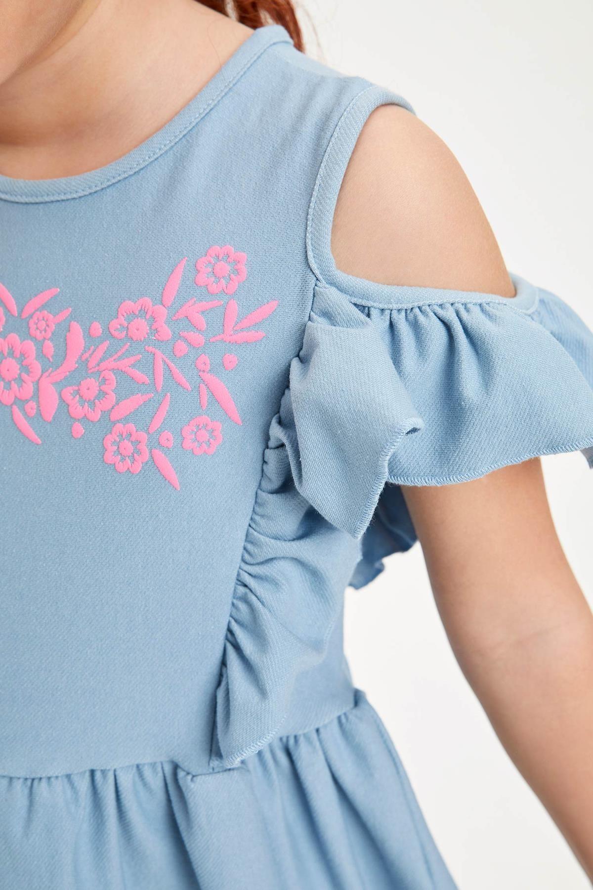 Defacto Kız Çocuk Baskılı Kol Detaylı Örme Elbise 2