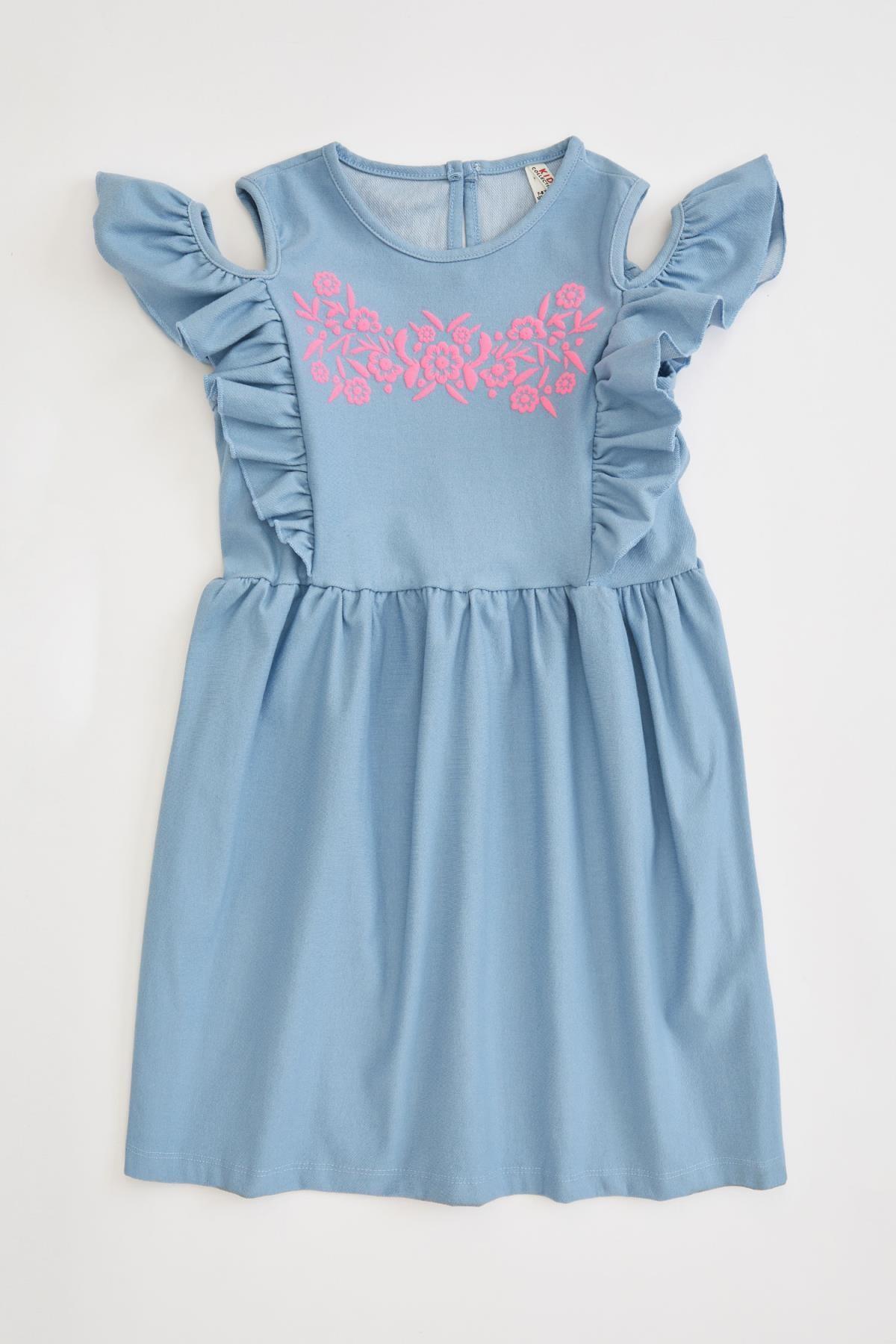 Defacto Kız Çocuk Baskılı Kol Detaylı Örme Elbise 4