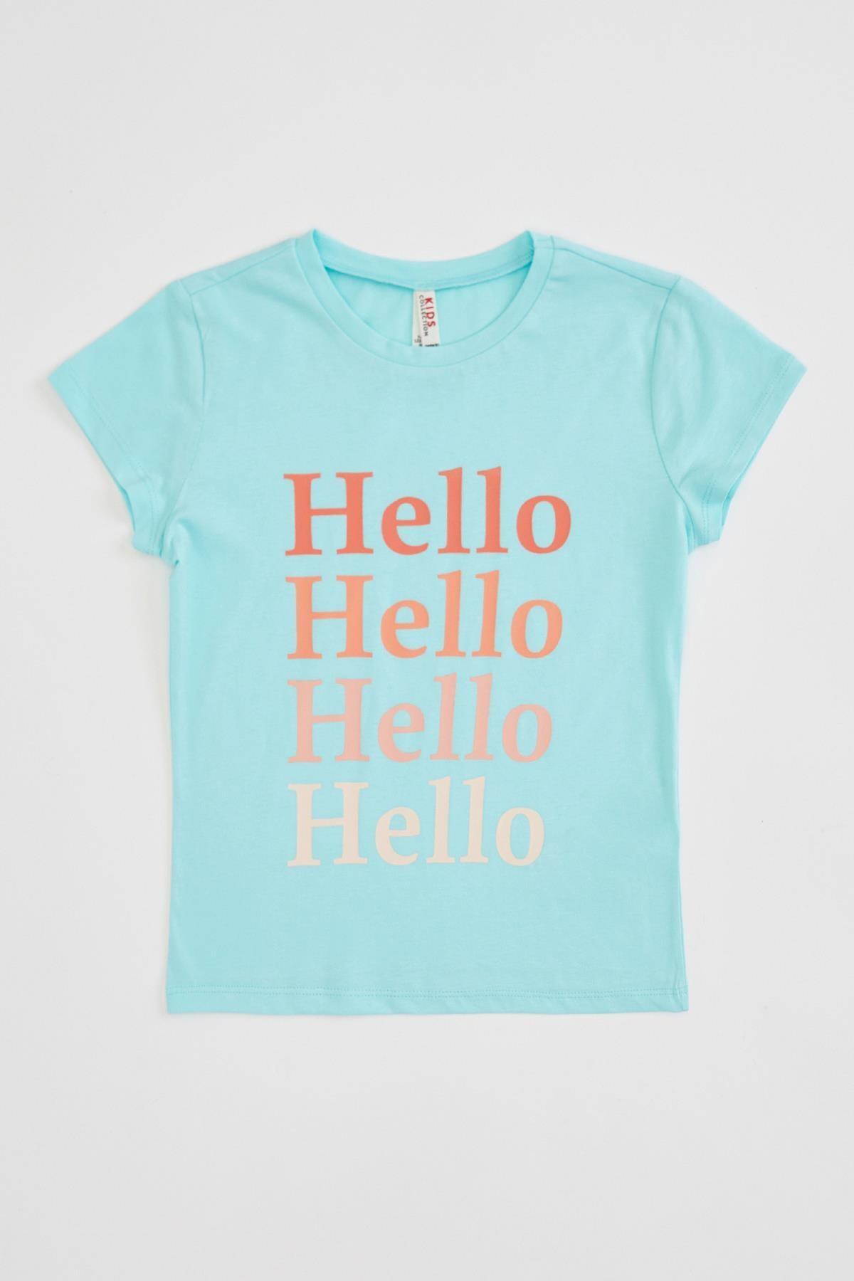 Defacto Kız Çocuk Yazı Baskılı Kısa Kollu Tişört 3