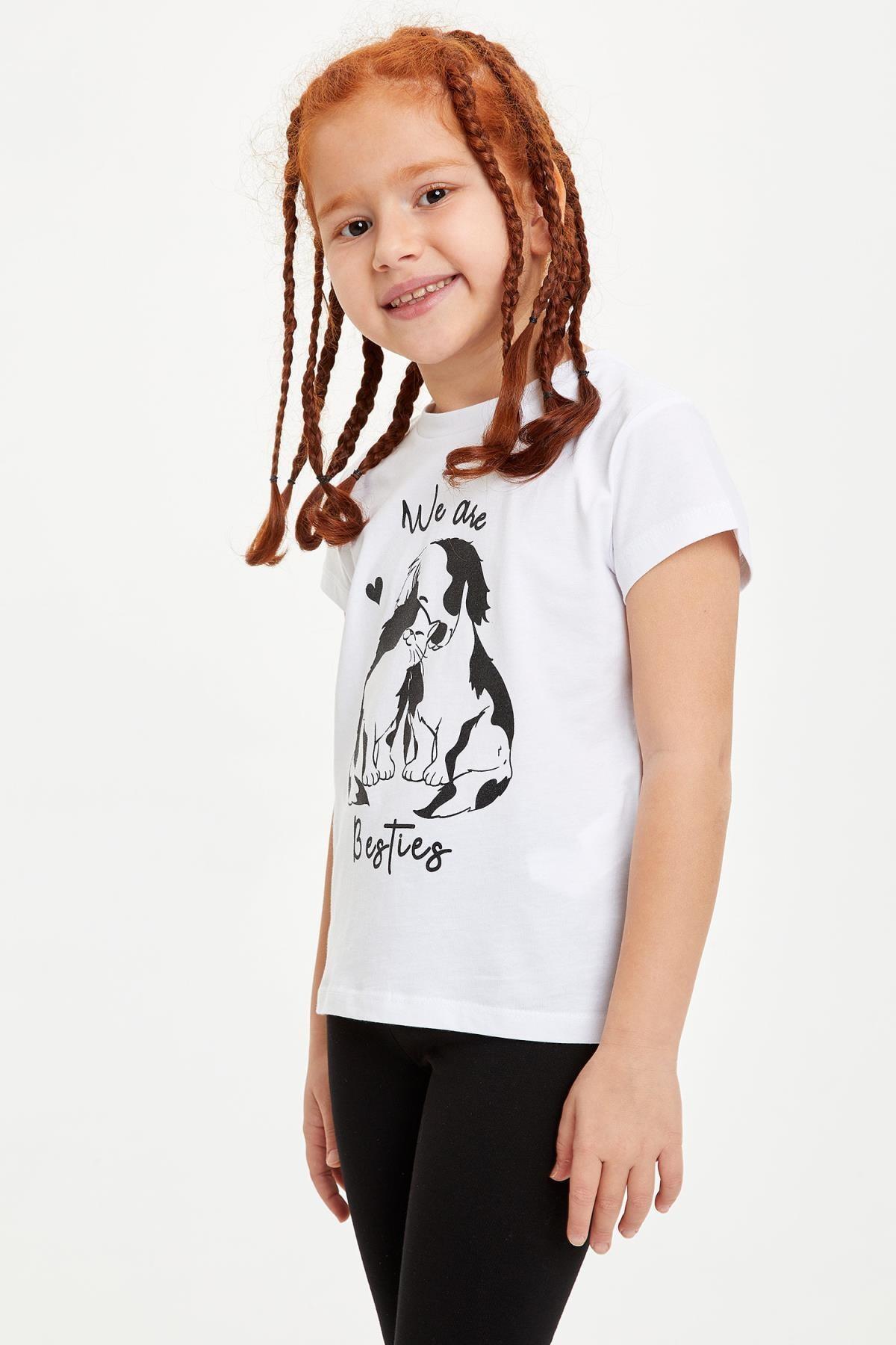Defacto Kız Çocuk Baskılı Kısa Kollu Tişört 0