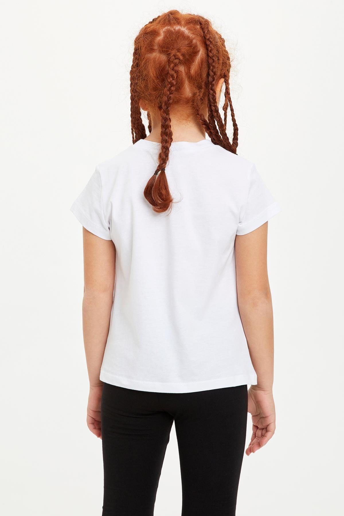 Defacto Kız Çocuk Baskılı Kısa Kollu Tişört 3
