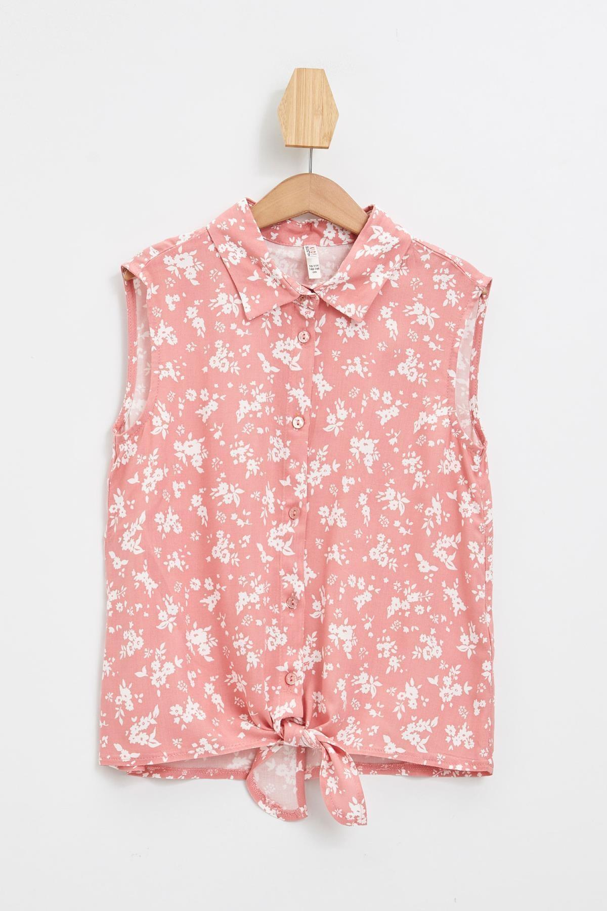 Defacto Kız Çocuk Çiçek Desenli Bağlama Detaylı Kolsuz Gömlek 0