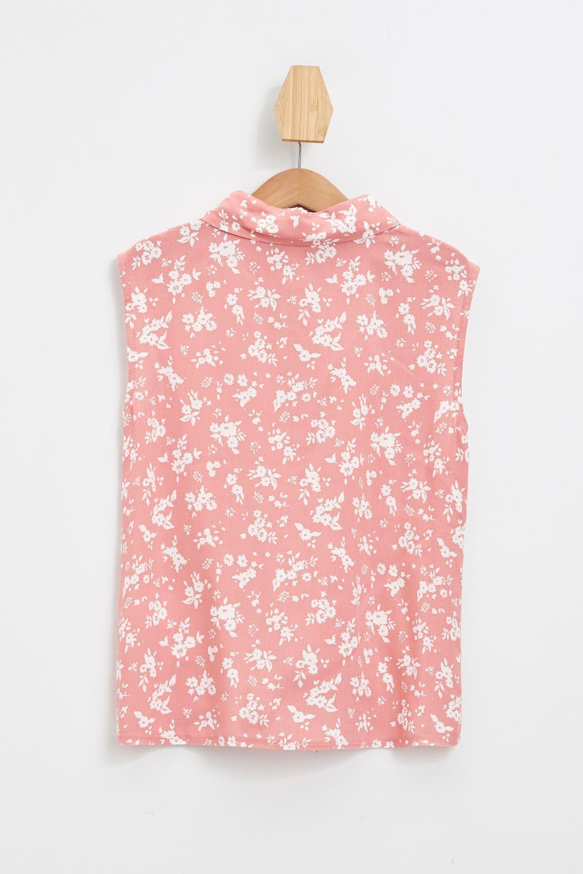 Defacto Kız Çocuk Çiçek Desenli Bağlama Detaylı Kolsuz Gömlek 1
