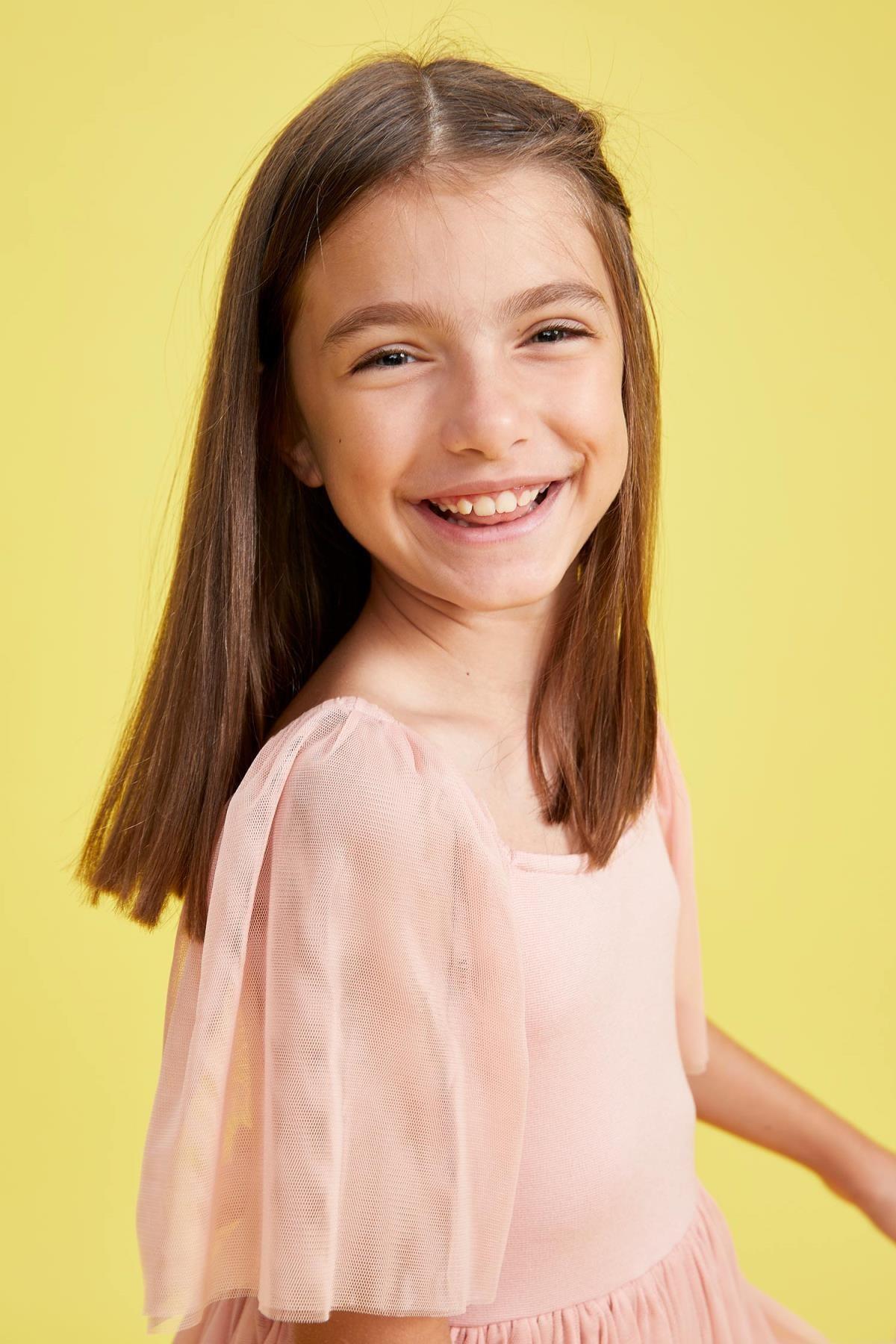Defacto Kız Çocuk Tül Detaylı Askılı Elbise 1