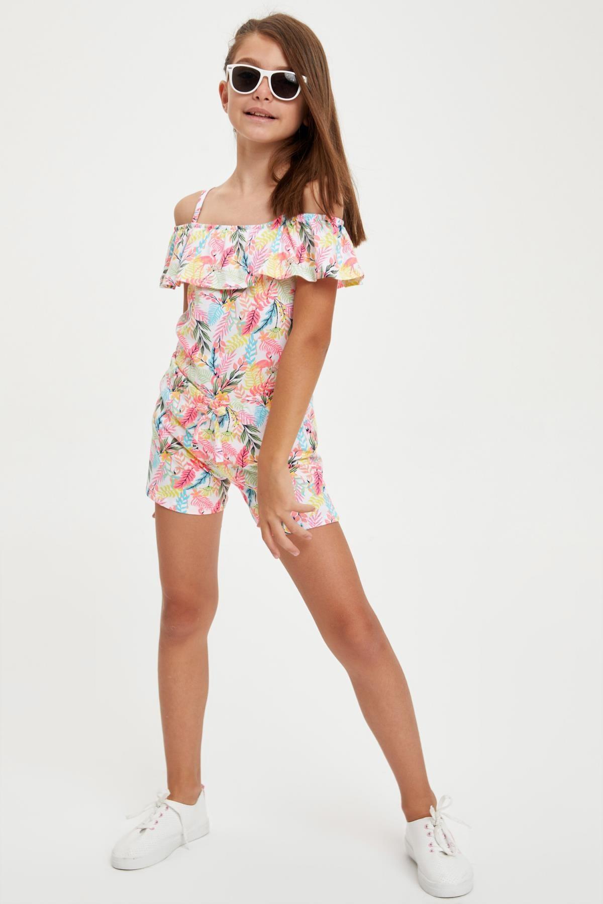 Defacto Kız Çocuk Flamingo Desenli Fırfırlı Bluz ve Şort Takım 0