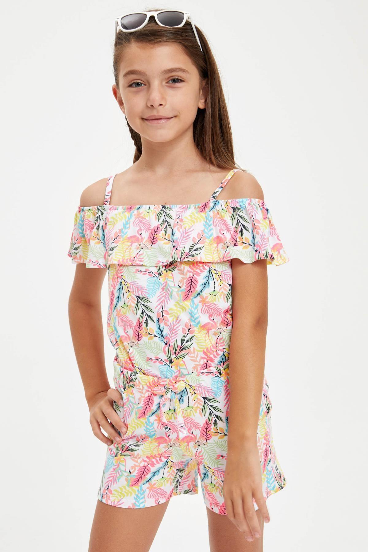 Defacto Kız Çocuk Flamingo Desenli Fırfırlı Bluz ve Şort Takım 1