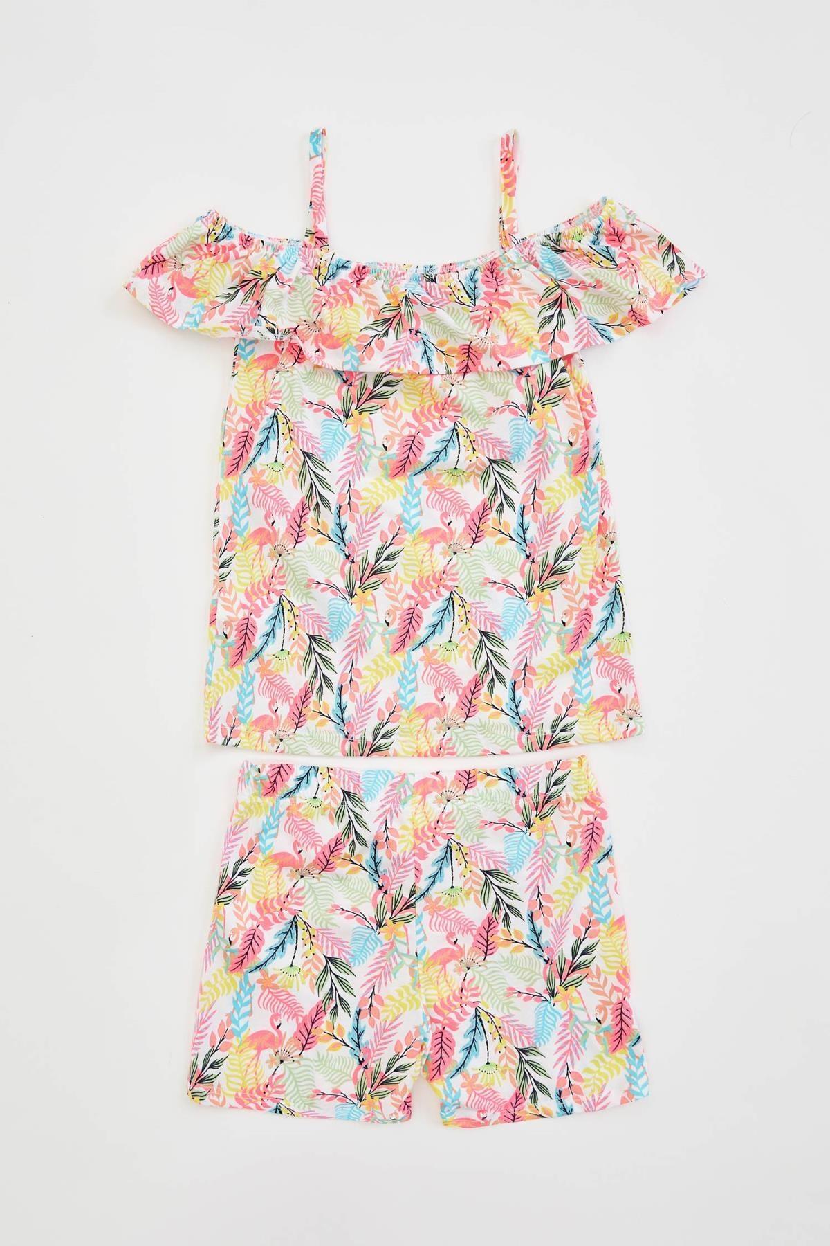 Defacto Kız Çocuk Flamingo Desenli Fırfırlı Bluz ve Şort Takım 4