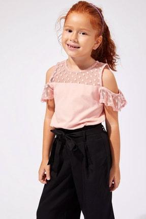 Defacto Pembe Kız Çocuk  Omzu Açık Kısa Kollu T-Shirt 1