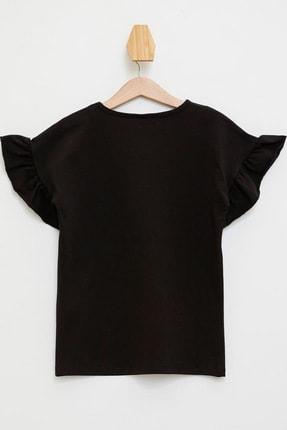 Defacto Siyah Kız Çocuk  Yazı Baskılı Kolları Fırfır Detaylı T-Shirt 1