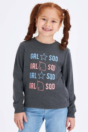 Defacto Kız Çocuk Baskılı Sweatshirt 0