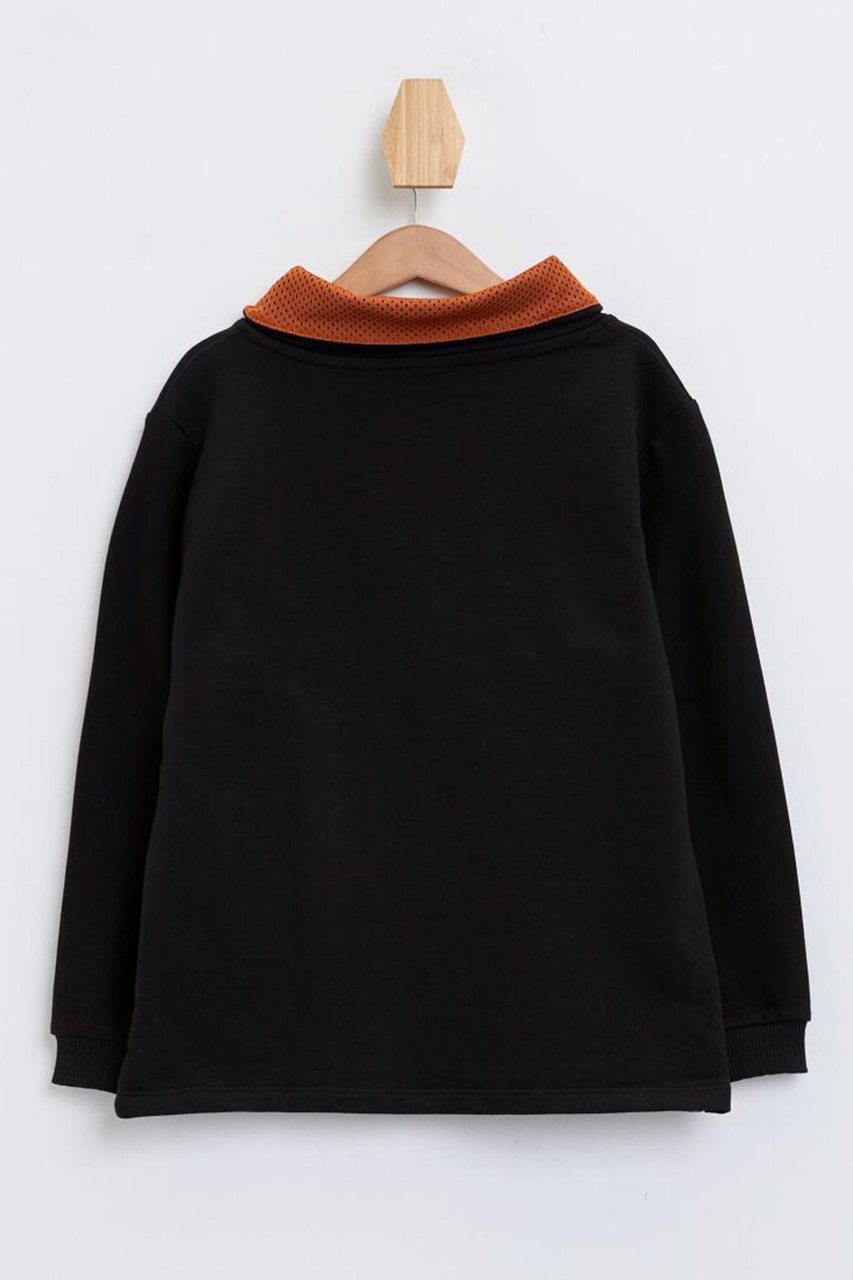 Defacto Degaje Yaka Baskılı Sweatshirt