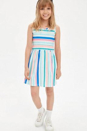 Defacto Çizgili Kolsuz Örme Elbise 0