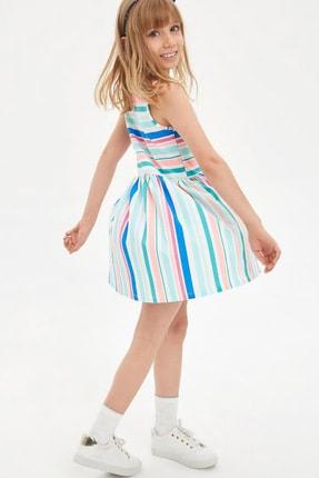 Defacto Çizgili Kolsuz Örme Elbise 2