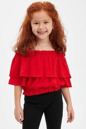 Defacto Kız Çocuk Volanlı Kısa Kollu Bluz 0