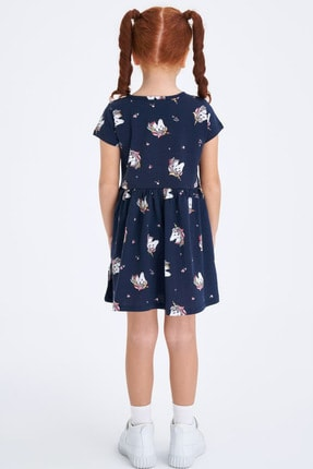 Defacto Baskılı Kısa Kollu Örme Elbise 2