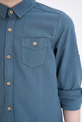 Defacto Erkek Çocuk Tek Cepli Kolu Katlamalı Pamuklu Gömlek 2