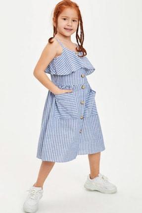Defacto Kız Çocuk Çizgili Düğmeli Dokuma Elbise 2