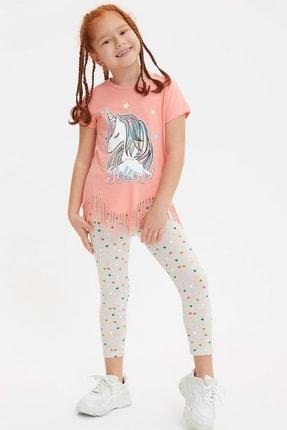 Defacto Kız Çocuk Unicorn Baskılı Püskül Detaylı Kısa Kollu T-shirt 1