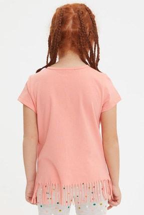 Defacto Kız Çocuk Unicorn Baskılı Püskül Detaylı Kısa Kollu T-shirt 2