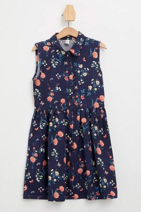 Defacto Kız Çocuk Baskılı Düğmeli Kolsuz Dokuma Elbise 2