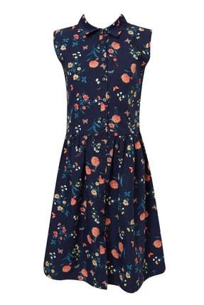 Defacto Kız Çocuk Baskılı Düğmeli Kolsuz Dokuma Elbise 4