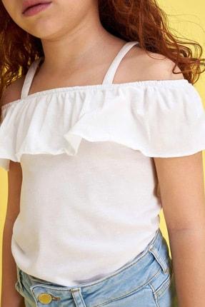 Defacto Kız Çocuk Ince Askılı Volanlı Bluz 2