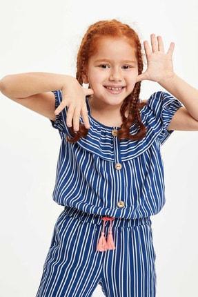 Defacto Kız Çocuk Çizgili Kısa Kollu Bluz 0