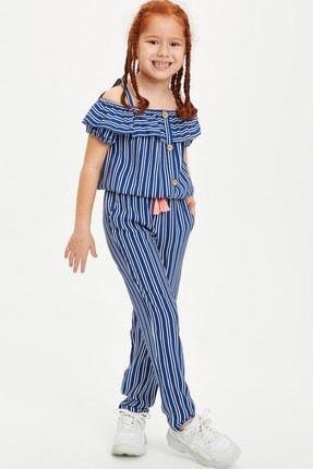 Defacto Kız Çocuk Çizgili Kısa Kollu Bluz 1