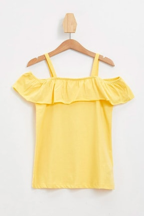 Defacto Kız Çocuk Askılı Fırfırlı Bluz 4