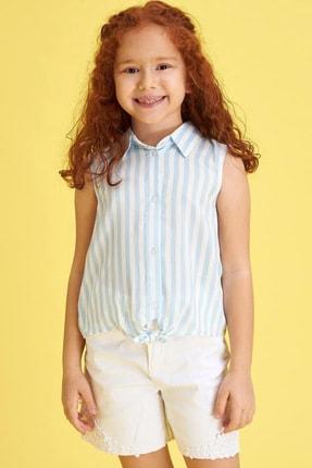 Defacto Kız Çocuk Bağlama Detaylı Çizgili Kolsuz Gömlek 1