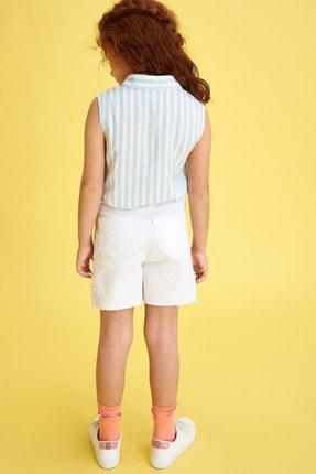 Defacto Kız Çocuk Bağlama Detaylı Çizgili Kolsuz Gömlek 2