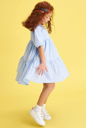 Defacto Kız Çocuk Relax Fit Kısa Kollu Dokuma Elbise 0