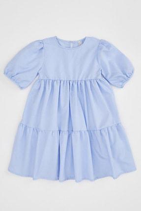 Defacto Kız Çocuk Relax Fit Kısa Kollu Dokuma Elbise 3
