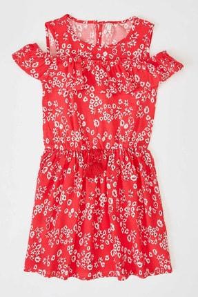 Defacto Kız Çocuk Çiçek Baskılı Dokuma Elbise 0