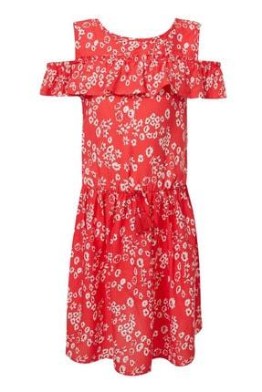Defacto Kız Çocuk Çiçek Baskılı Dokuma Elbise 2