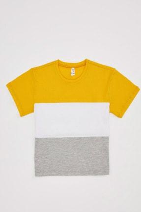 Defacto Kız Çocuk Renk Bloklu Kısa Kollu Tişört 3