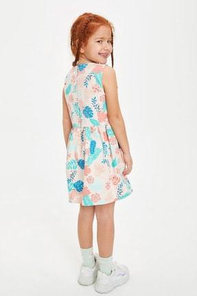 Defacto Kız Çocuk Çiçek Desenli Kolsuz Elbise 3