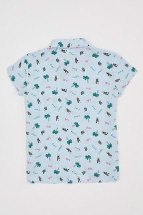 Defacto Kız Çocuk Kaktüs Desenli Kısa Kollu Gömlek 1