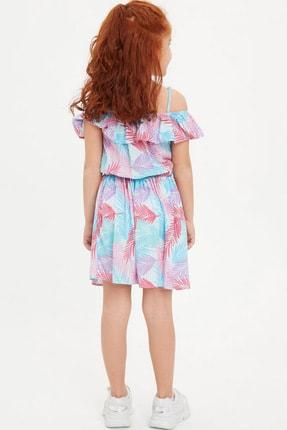 Defacto Kız Çocuk Tropik Desenli Dokuma Elbise 2