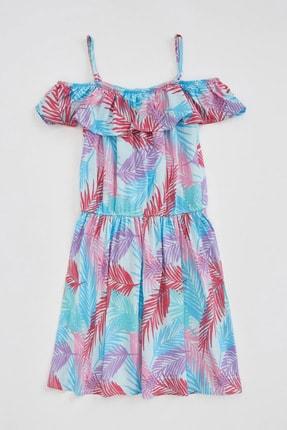Defacto Kız Çocuk Tropik Desenli Dokuma Elbise 3