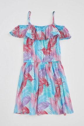 Defacto Kız Çocuk Tropik Desenli Dokuma Elbise 4