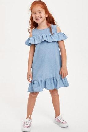Defacto Kız Çocuk Mavi Kot Elbise 0