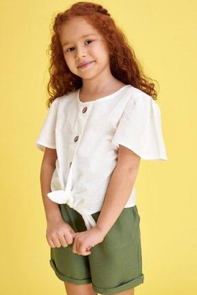 Defacto Kız Çocuk Bağlama Detaylı Kısa Kollu Bluz 0