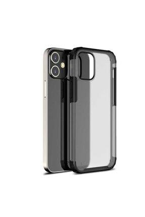 Pickcase Apple Iphone 12 Pro 6.1 Kılıf Kamera Korumalı Arkası Mat Kenarları Siyah Arka Kapak 0